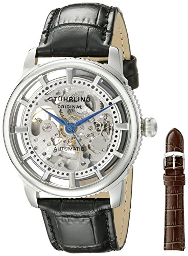 Stuhrling Original Classic Winchester Skeleton Watch Set Orologio da Polso, Display Analogico, Uomo, Cinturino in Pelle, Nero