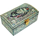 Wooden luxury jewellery box with mirror, lacquer mother of pearl jewelry case, handmade oriental gift, cranes.