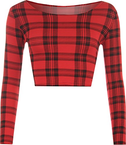 WearAll - Haut court à manches longues avec imprimés variés - Hauts - Femmes - Tailles 36 à 42 Rouge Tartan