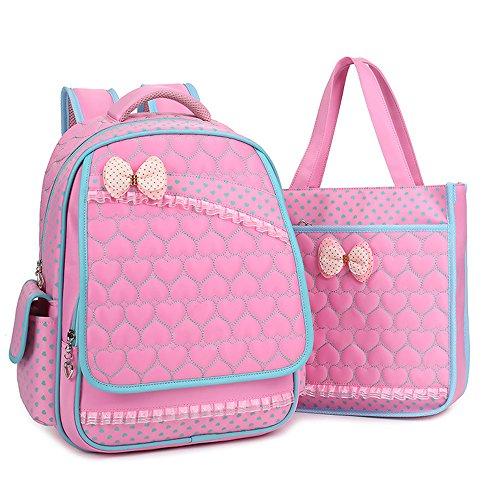 BOZEVON Jungen Mädchen Wasserdichte Rucksack für Kinder Unisex Schulrucksäcke Rucksack für Reisen, Wandern Pink-C