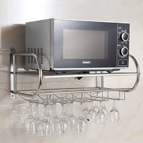 PIGE Edelstahl-Mikrowellen-Gestell, Wein-Glas-Halter-Becher-Aufhänger-Wein-Gestell, Küchen-Wand-Hängen (Farbe : Silber, größe : 59cm) (Glas Aufhänger Wein)