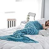 Meerjungfrau Flosse Decke Erwachsene Gestrickte Nixeendstück Decke Wohnzimmer Quilt für alle Jahreszeiten, Super Weiche & Warmer Schlafsack Decke (195cm X 90cm)