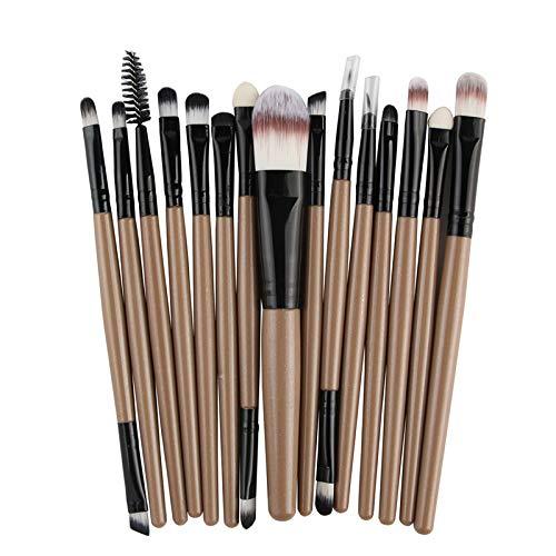 Cdet. 15Pcs Kit De Pinceau Maquillage en Oeil avec Manche en Plastique Double tête Cosmétiques Brush Ensemble Fondation Mélange Blush Yeux Poudre Brosse Make Up Kaki