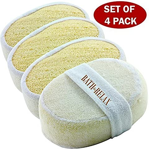 ★ SALE 2016 DEAL ★ Exfoliating Loofah Bath Sponge Pads Pack Of 4 - Ultra Thick, Great For Exfoliating Shower - 100% Natural - Best Luffa Sponge And Spa Scrubber For Men And Women - Body wash sponge by Bath & Relax