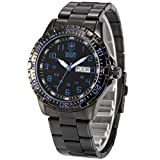 SHARK ARMY Herren Armbanduhr Quarzuhr mit Armband aus Edelstahl Datumanzeige SAW093