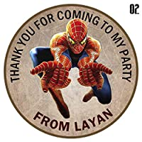 "design buddies Personalised Spider man 50mm 2"" Party Stickers thank you labels,thank you for coming to my party labels DS3"