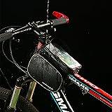 Fahrradtasche Rahmentaschen, MOREZONE Frarradschnalletasche mit zwei Fäche, geeignet für Handy mit Größe unten 6,0″, Farhradlenkertasche (Black) - 3