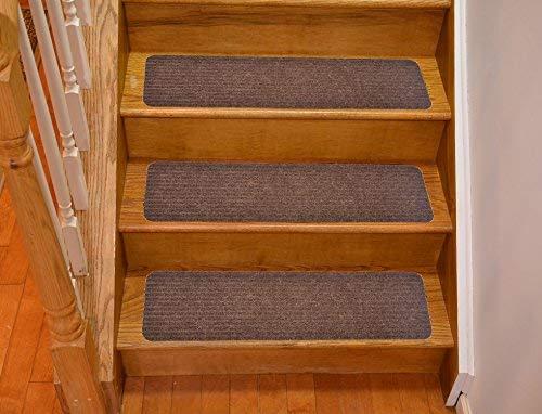 Premium Stufenmatte Treppenstufe Kollektion innen Skid Rutschfeste Rückseite aus Gummi braun Teppich Stufenmatten Stufen Set of 13 braun
