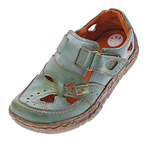 TMA Damen Comfort Leder Sandaletten 7008 Schuhe Grün Halbschuhe Sandalen Gr. 37