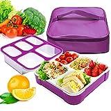 FunLife - Caja para almuerzo, ecológica, sin bisfenol A, tapa hermética a prueba de fugas para alimentos saludables, secos y líquidos, control de porciones, preparación de comidas, adultos y niños