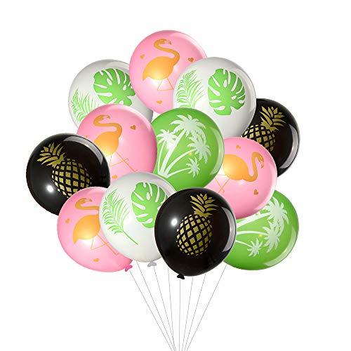 Tuparka 60Pcs Hawaiian Luau Tropical Party Ballons, Flamingo, Palme, Ananas, Tropische Blätter Design Latex Ballons für Hawaiian Hochzeit Geburtstag Baby Shower Party Favors Supplies
