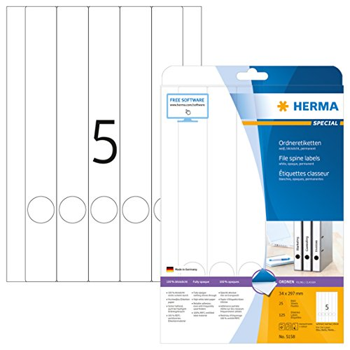 Herma 5158 Ordnerrücken blickdicht, schmal/lang (34 x 297 mm) 125 Ordner Etiketten, 25 Blatt A4 Papier matt, weiß, bedruckbar, selbstklebend