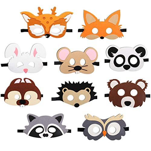 JAHEMU Tiermasken Filz Masken Kindermasken Halloween Maske Partymasken Weihnachten Geburtstag Geschenke für Kinder 10 Stücke