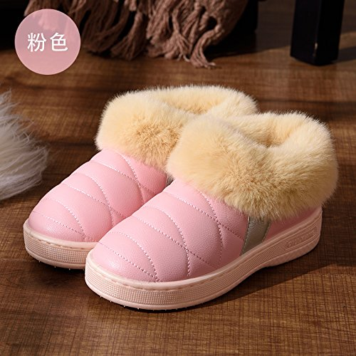 DogHaccd pantofole,Un paio di inverno home pantofole di cotone alta femmina-package con piscina coperta e scoperta anti-slittamento peluche spessa caldo cotone scarpe maschili Rosa2