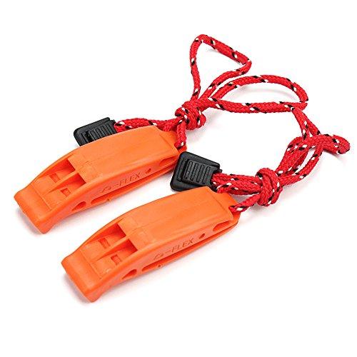 2x Sifflet Scout Signal Whistle Survie PR Camping Randonnée Plein Air Sauvetage(Couleur de corde: noir et rouge seront envoyées au hasard)