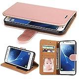 Galaxy J7 2017 Hülle, SOWOKO Leder Etui Flip Case Handyhülle für Samsung Galaxy J7 (2017) Brieftasche Tasche mit Integrierten Kartensteckplätzen und Ständer /Magnetverschluss, Rose Gold