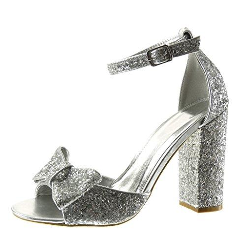 Schuhe Silber Sexy (Angkorly - damen Schuhe Sandalen Pumpe - Sexy - fliege - glitzer - String Tanga Blockabsatz high heel 11 CM - Silber 101-2 T)