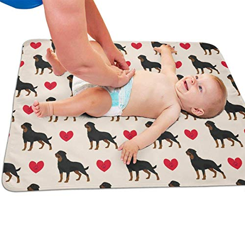 swerrtty Rottweiler Dog Colorful Hearts Pattern Portable Diaper Baby Changing Pad Multi-Purpose Travel Changing Mat -