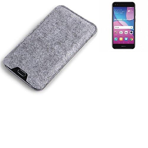 K-S-Trade Filz Schutz Hülle für Huawei Y6 Pro 2017 Dual SIM Schutzhülle Filztasche Filz Tasche Case Sleeve Handyhülle Filzhülle grau