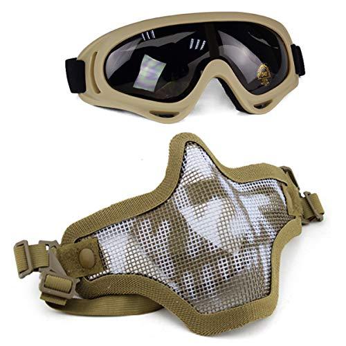 Aoutacc Juego de máscaras y Gafas Airsoft, máscara de Malla de Acero Completa de Media Cara y Gafas para CS/Caza / Paintball/Disparos (Tan Skull)