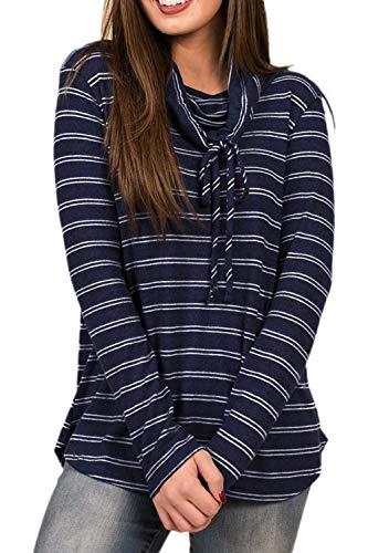 Damen Frauen Im Winter Pussy Bow Streifen Pullover Perfect Oberbekleidung Sweatshirt Top Langarm Shirt T-Shirts Style (Color : Dunkelblau, Size : M)