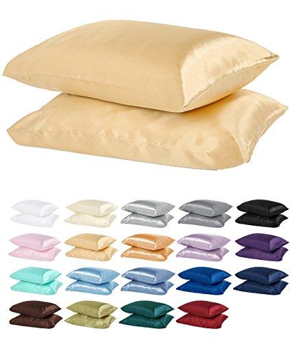 dreamhome Satin Kissen Fall mit Reißverschluss, Polyester-Mischgewebe, gold, Standard (2 Pillow Cases) 300.00  -
