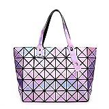 BUOU Shopper Taschen Frauen Handtaschen Plaid Geometrie Tasche Folding Damen Tote (Lila)