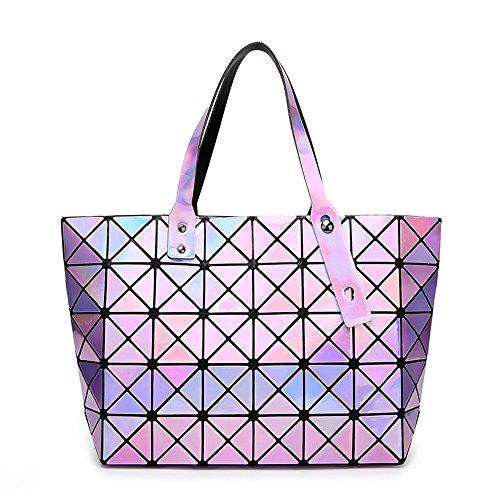 BUOU Shopper Taschen Frauen Handtaschen Plaid Geometrie Tasche Folding Damen Tote (Lila) - Lila Shopper