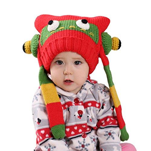 Cute robot pour bébé en crochet Hiver chaud Chapeau 3-36 Mois - Rouge