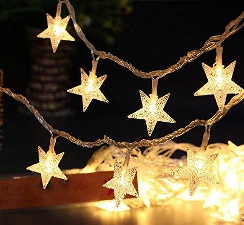 Luces de hada de estrellas, luces de cadena con batería de 6 m, 40 estrellas LED, iluminación decorativa para el hogar, Navidad, boda, fiesta de cumpleaños, blanco cálido, batería no incluidas