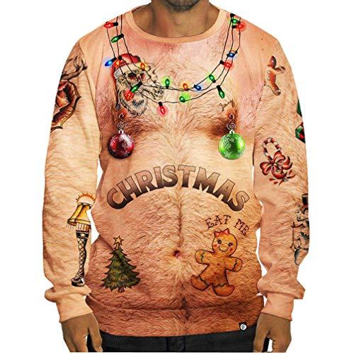 Weihnachtspullover Sweatshirt Mit Weihnachtsmotiv 3D Druck Unisex Herren Pullover Jumper Weihnachts Pulli Damen 3D Printed Hässlicher Lustig Rundhals Pullis Gelb L