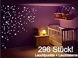 Stickerkoenig Kinderzimmer Wandtattoo Leuchtsticker 296 Leuchtpunkte & Leuchtsterne