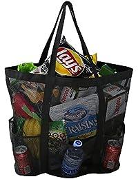 Bolsa grande de malla de playa, mosquetón, bolsa de cordón con 6 bolsillos, bolsa de almacenamiento de juguetes de arena, bolsa plegable plegable de compras, bolsa de almacenamiento de comestibles, bo