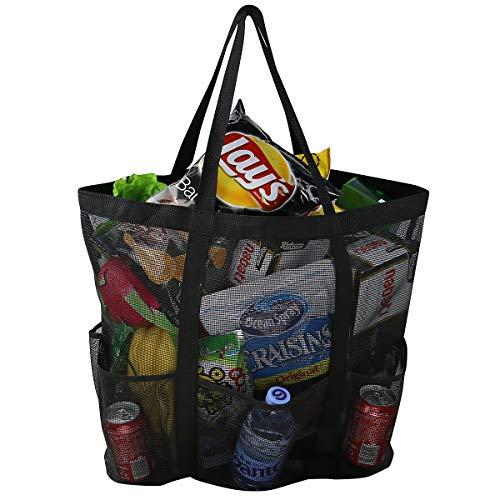 Große Mesh Strandtasche, Karabiner, Kordelzug Tasche mit 6 Taschen, Sand Spielzeug Aufbewahrungstasche, faltbare Weiche Shopping Umhängetasche, Lebensmittelgeschäft Aufbewahrungstasche
