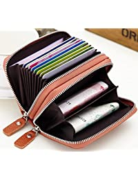 Leather RFID Blocking Credit Card Holder Wallet Case Compact Zipper Organizer - Brown