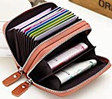 #5: Leather RFID blocking credit card holder wallet case Compact zipper organizer - Brown