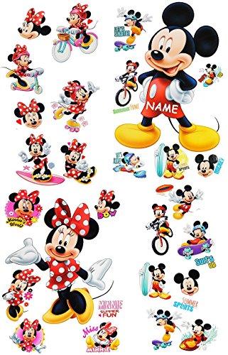 t _ Wandtattoo / Sticker + Fensterbilder -  Mickey & Minnie Mouse  - incl. Name - Wandsticker + Fenstersticker - Aufkleber für Kinderzimmer - Maus.. ()
