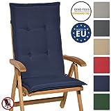 Beautissu Hochlehner Auflage Loft HL 120x50x6cm Sitzkissen Rückenkissen mit Schaumkern-Füllung Dunkel-Blau mit Oeko-Tex in diversen Farben