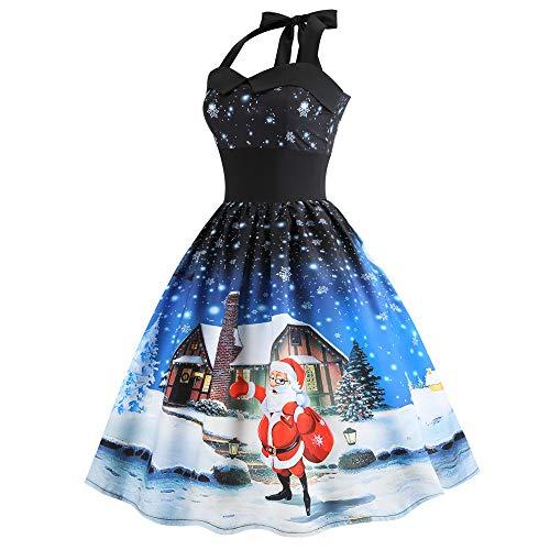 Selou Frauen Weihnachten Sleeveless Rundhals Abend Schneemann Print Party Prom Minikleid Schlanker...