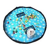 Kinder Aufräumsack Spielzeug Aufbewahrungstasche 150cm Durchmesser wasserdichte Spielmatte Spieldecke Toys Speicher Tasche zum Aufhängen Organizer (Blau)