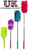 Extendable Telescopic Microfibre Cleaning Duster 4 COLOUR CHOICE & 1,3,6 OR 12 PACK Feather Style Extending Brush