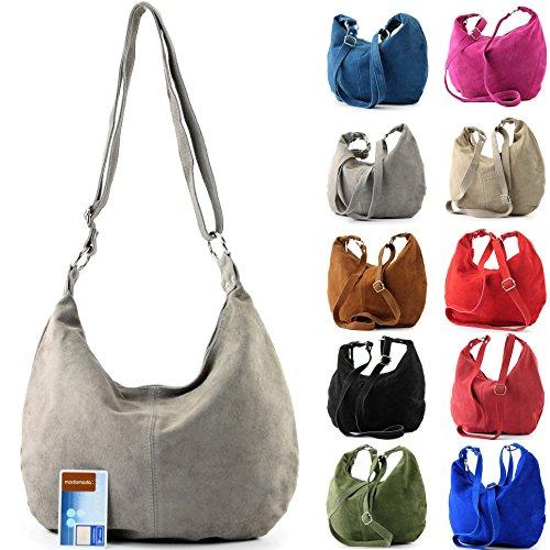 Borsa a mano borsa a tracolla shopping bag donna in vera pelle italiana T02 Flieder