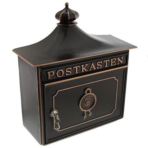 BURG-WÄCHTER, Alu-Guss-Briefkasten mit Komfort-Tiefe, A4 Einwurf-Format, Bordeaux 1895 BC, Bronze
