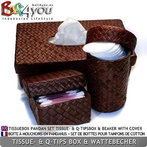 Pandan Tissue- & Q-Tips Box & tumbler with lid (10