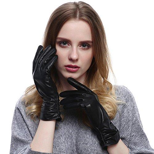 VEMOLLA Damen Winter Handschuhe Echt Leder Gefüttert Lederhandschuhe Wolle Im Innern Schwarz Size 6.5