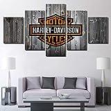 BOYH Impressions sur Toile Affiche Harley Davidson Moto vélo 5 pièces HD Impressions Art Mural Accueil Décoration,A,30×50×2+30×70×2+30×80×1
