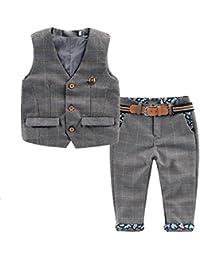 [Les enfants Costume garçons Messieurs] 2 pcs veste + pantalon avec Vêtements de ceinture fixé costume bébé Toddler Enfants costume de garçon