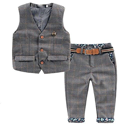 [Kinderanzug Jungen Gentleman] 2 pcs Weste + Hose mit Gürtel Bekleidungsset Baby Kleinkind Kinderanzug Junge Anzug Grau 90