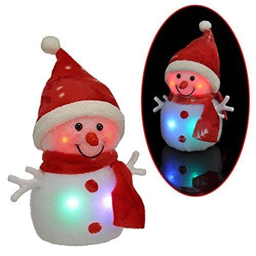 2x Schneemann mit LED bunter Schal & Mütze Höhe ca. 20 cm Beleuchtung 6 LED warm weiß XXL weiß mit 3AA