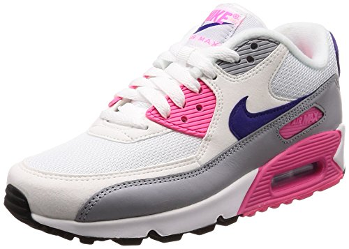 Nike Wmns Air MAX 90, Zapatillas para Mujer, Blanco (White/Court Purple-Wolf Grey-Laser Pink 136), 38.5 EU